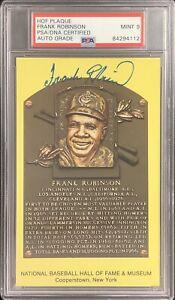 Frank Robinson Signed Gold Plaque HOF Postcard Yellow Orioles PSA/DNA Auto 9