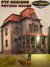 """HO Scale """"PSYCHO HOUSE """" HALLOWEEN BUILDING FLAT W/LED - BATES MOTEL WALTHERS"""