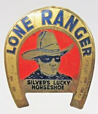 c. 1934 LONE RANGER SILVER'S LUCKY HORSE SHOE pinback button badge radio premium