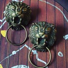 Unique VINTAGE GOLD LION DOOR KNOCKER EARRINGS retro MINIATURE fab VINTAGE STYLE