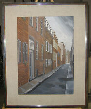 Outstanding 1977 Acrylic View of Beacon Hill Street Boston Contemporary Realist