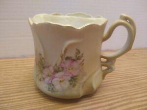Vintage NIPPON Porcelain Mustache Cup, Violets, Original Sticker, Mint Condition