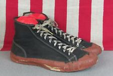 Vintage 1940s Keds Black Canvas Basketball Sneakers w/Red Rubber Gym Shoes 9.5