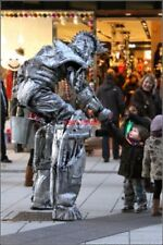 PHOTO  CARDIFF QUEEN STREET INVADER 7FT ROBOT MEETS 3FT BOY IN QUEEN ST.