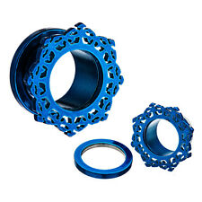 "PAIR-Ornamental Titanium Blue Screw On Ear Tunnels 11mm/7/16"" Gauge Body Jewelr"