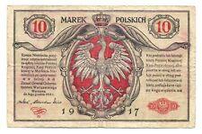 Poland German Occupation WWI Polish State Loan Bank 10 Marek 1916 (17) VG/F P#12