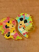 Disney Pin #76167 HKDL - Mickey and Minnie Heart Pins 9 year old