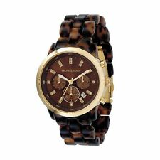Michael Kors Uhr MK5216 Damen Chronograph Edelstahl Gold Acryl Braun Armbanduhr