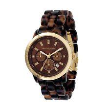 Michael Kors Watch mk5216 Women's Chronograph Stainless Steel Gold Acrylic Brown Wristwatch