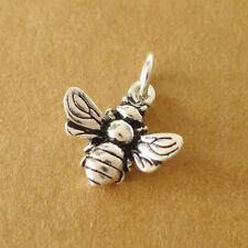 Solid 925 Sterling Silver 3D Bumble Bee Insect Necklace Bracelet Charm Pendant B
