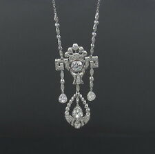 Antique 4.50ct Old Mine Cut Diamond & Platinum Filigree Decorated Necklace