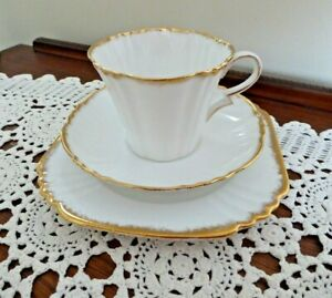 """ROYAL ALBERT CROWN CHINA ART DECO """"WHITE & GOLD"""" CUP SAUCER PLATE TRIO ENGLAND"""