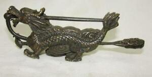Rare Chinese old style Brass Carved dragon lock and key