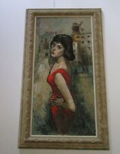 FINEST LOCCA PAINTING PORTRAIT 1960 MODERNIST EXPRESSIONIST GORGEOUS MODEL