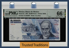 TT PK 91c 1987 MEXICO BANK DE MEXICO 20000 PESOS PMG 66 EPQ GEM TOP POPULATION