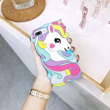 For iPhone 3D Rainbow Unicorn pretty Fashion Soft Silicone Phone Case Cover Skin