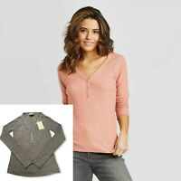 Women's Long Sleeve V-Neck Cozy Shirt-Universal Thread