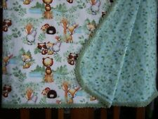 Forest Critters*Cute Flannel Blanket*Crocheted Edge*Bears*Fox*Hedgehog And More