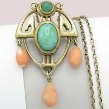 Vtg Antique Art Nouveau Jugendstil Aventurine Momo Coral Silver Pendant Necklace