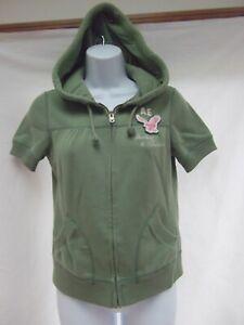 vtg American Eagle short sleeve hoodie sweatshirt football 34 M pocket grn MINT