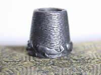 Vintage Sewing Thimble Swimming Sperm Whales Pewter Metal