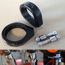 Black Turn Signal Clamps for Harley Softail Relocation Mount Bracket 49mm Fork