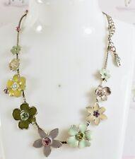Beautiful Danish Pilgrim Enamelled Daisy Like Flowers Necklace Very Pretty