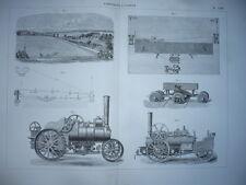 GRAVURE 1880 AGRICULTURE FORÊT MATÉRIEL PROCÉDÉS LABOURAGE A VAPEUR