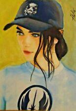 original painting watercolor miniature art drawing portrait picture woman signed
