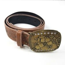 Leather Belt Stamped Womens 20W Cute Buckle Bling Brown Excellent