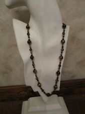 14K Gold & Tiger's Eye 24 Inch Beaded Necklace. GORGEOUS!