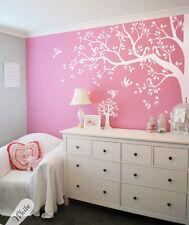 Unisex Nursery corner tree with birds, All white wall decals, Tattoo KW006NoMono
