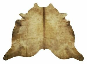 New Cowhide Rug Large Tan Brown Champagne Brazilian 84 X 75 Inches 5068