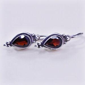 Vintage Sterling 925 silver handmade earrings with teardrop ruby