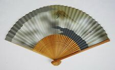 Vintage Japanese Hand Folding Fan Painted Mount Fuji Marked Signed