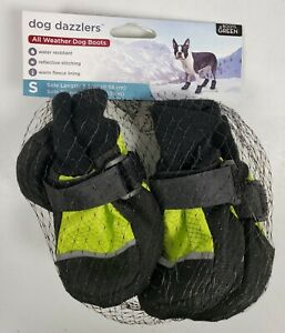 Dog Dazzlers All Weather Dog Boots Reflective Fleece Lined - Size Small, Green