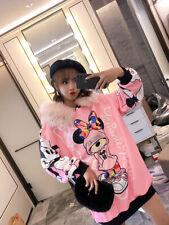 Mori girl fashion Cartoon printing Big wool collar Sweater Hooded cap Loose coat