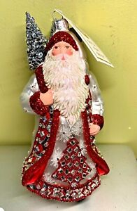 Patricia Breen 2019 Iverson Claus Red & Pearl #3937 Blown Glass Glitter NWT