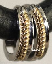 1.21g Solid 14K White Yellow 2Tone Gold Huggies Hoop Earrings 11mm small