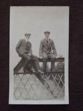 TWO WELL DRESSED MEN SITTING ON STEEL BRIDGE GIRDER OVER RIVER Vtg 1910's PHOTO