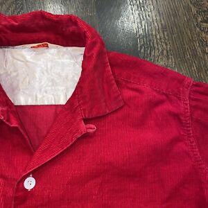 Vtg 50s 60s Sears Roebuck PILGRIM Shirt Red Corduroy Loop Collar USA Mens LARGE