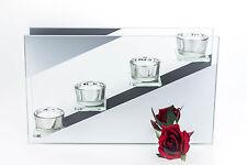 Kerzenhalter Blume Glas 4 Teelichthalter Dekoschale Tisch Dekoration Deko Kerze