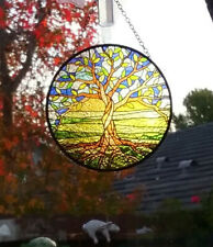 Stunning  Stained Glass Look Sacred TREE OF LIFE Hanging SUNCATCHER, Celtic Tree