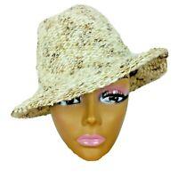 Vintage 70s Womens Fedora Hat Italy Cream Ivory Brown Soft Brim Wool