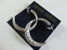 DIAMANTE TWIST SILVER COLOURED HALF MOON OPEN HOOP EARRINGS 4cm new gift pouch