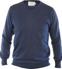 Gents Merino Wool Sweater V-Neck Jumper Denim Blue 2X-Large