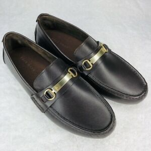 Cole Haan Shoe Gold Metal Bit Driver Loafer Leather Brown Mens 10 Slip On C26976