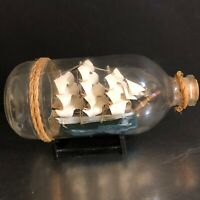 Gorch Fock Ship In Bottle Vintage Made Germany Clipper Ship Nautical Decor Navy