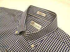Peter Millar Cotton & Silk Blend Navy Gingham Check Sport Shirt NWT Large $145