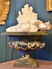 Antique French garden urn with dark green patina